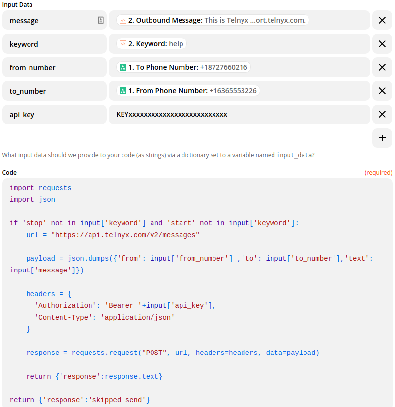 """Marketo 2 way SMS using the """"Code by Zapier"""" action and the Telnyx SMS API to send an SMS"""