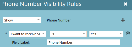 Visibility rules for the phone number field in the webinar registration form