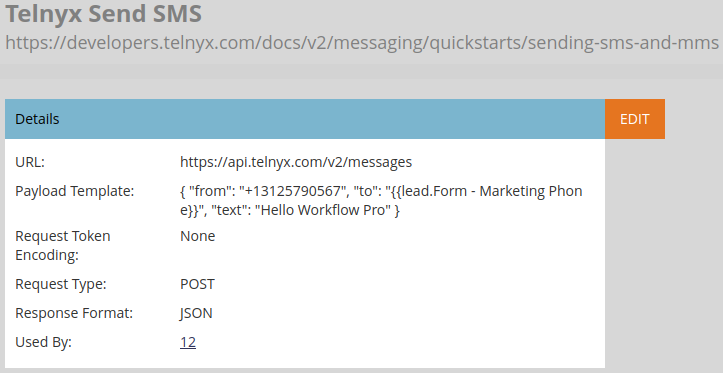 Marketo text messaging webhook configuration
