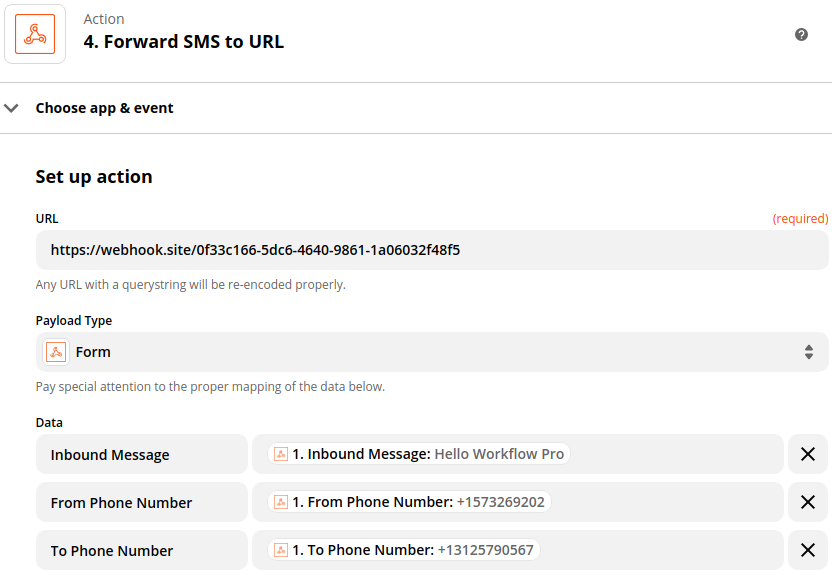 Forwarding SMS information to a URL using a webhook in Zapier